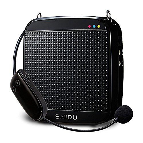 Amplificador de voz inalámbrico, SHIDU UHF 18W Sistema de PA portátil recargable Altavoz con micrófono inalámbrico Auriculares para maestros, Canto, Instructores de fitness, Yoga, Guías de viaje