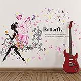 SIMPVALE Sticker Mural Amovible en vinyle Motif Fleur, Romantique Dansant Fille Fleur...