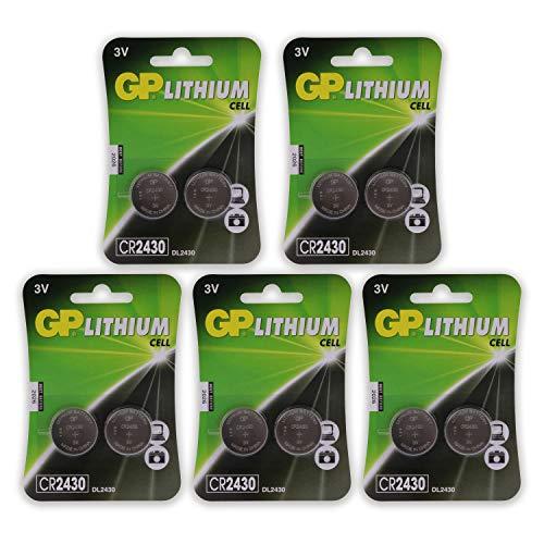 GP Lithium CR2430 Knopfzellen CR 2430 Batterien 3V (3 Volt) 10 Stück Knopfbatterien (in 5X 2er Original-Blisterverpackung, Batterien einzeln entnehmbar)