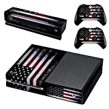 UUShop Protective Vinyl Skin Decal Cover for Microsoft Xbox One Console wrap sticker skins with two Free wireless controller decals American Falg(NOT for One S or X)