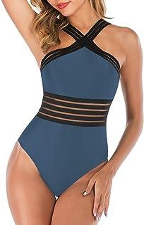 LUZIWEN Ribbon swimwear piece swimsuit bikini swimsuit Cross (Color : Light Blue, Size : XL)