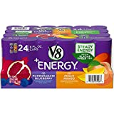 V8 +Energy Variety Pack, Healthy Energy Drink, 12 Pomegranate Blueberry and 12 Peach Mango, 8 Oz Can)