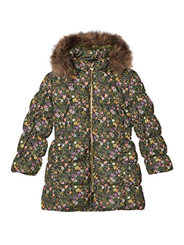 NAME IT Damen Daunenjacke Lange Blumenprint 104Winter Moss