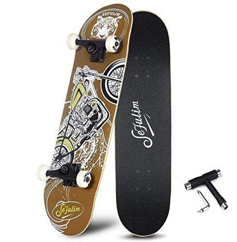 skateboard oxelo sefulim Skull Skateboard Complete 31x8 Inches Double Kick Trick Skateboards Cruiser Penny Beginners Longboard with Maple Deck Adult Boys Also Girls Skateboard … (Skull)