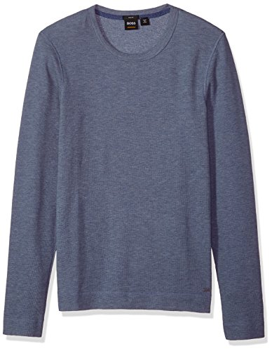 Hugo Boss Herren Tempest Long Sleeve with Pima Heather Yarn T-Shirt, Navy, XX-Large