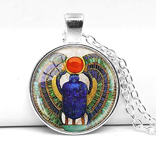 Halskette mit Anhänger ägyptischer Käfer aus rundem Kristallglas, antiker ägyptischer Schmuck, ägyptische Halskette