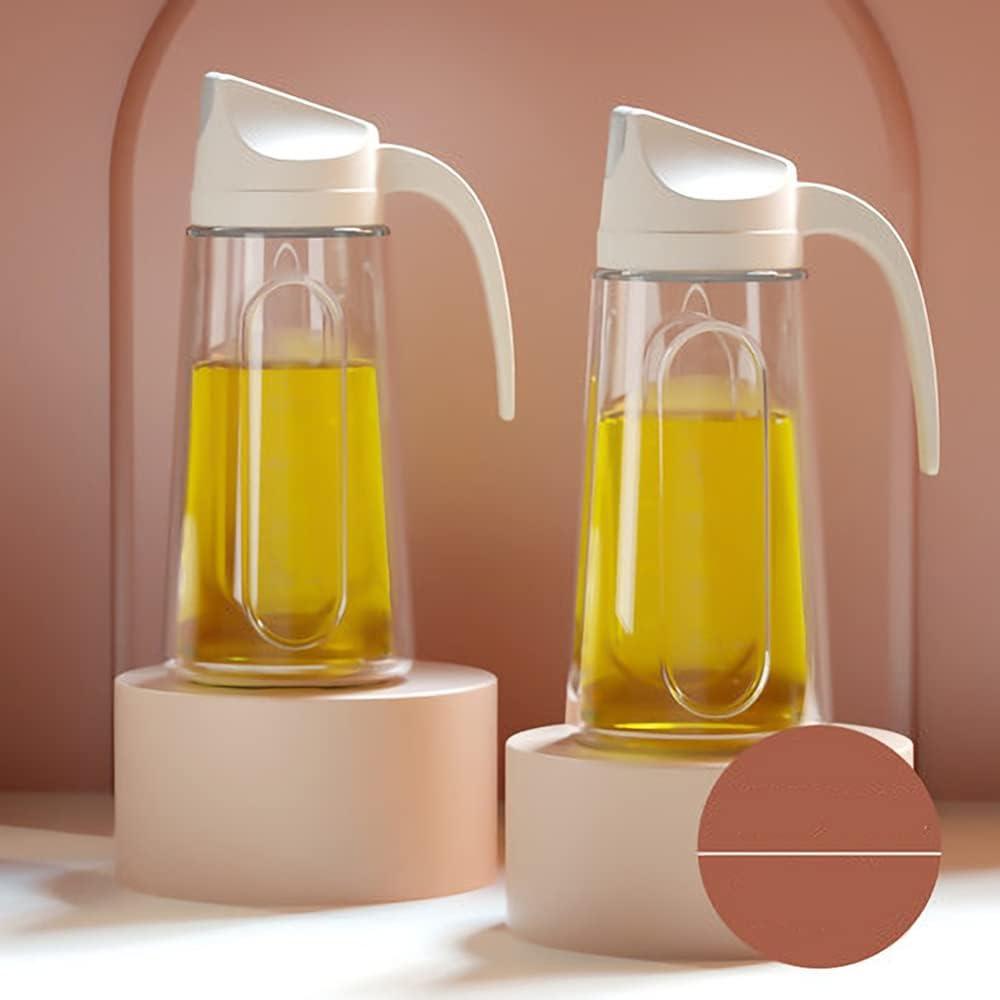 LYFWMGOD Aceitera Botella Antigoteo 2pcs 750ML, Vinagre Botella de Aceite Oliva Cristal Dispensador Con Pico de Acero Inoxi,Aceite de Oliva para Cocinar Ensalada BBQ/D