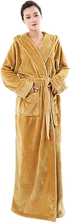 Bathrobe, Flannel Thick Dressing Gown Shawl Collar Bathrobe with Hood