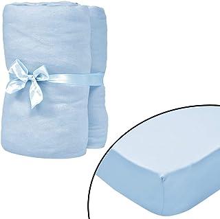 Casdl Drap-housse pour lit d'enfant 4 pièces en jersey de coton Bleu clair 40 x 80 cm