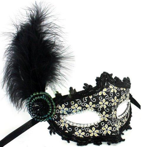Cuir Plume Masque Masque de fête d'Halloween Masquerade Mask (Noir)