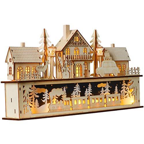 Valery Madelyn Beleuchtete Weihnachtsstadt aus Holz ca. 25 cm mit LED Beleuchtung Deko für Weihnachtsdeko Warmweiß LED Tischdekoration Weihnachten Advent Geschenk Dekoration