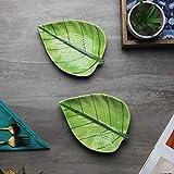 CROK CHOK Ceramic Betel Leaf Shaped Microwave Safe Starter Serving Platters (Green) - Set of 2