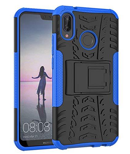 Yiakeng Funda Huawei P20 Lite Carcasa, Doble Capa Silicona a Prueba de Choques Soltar Protector con Kickstand Case para Huawei P20 Lite (Azul)