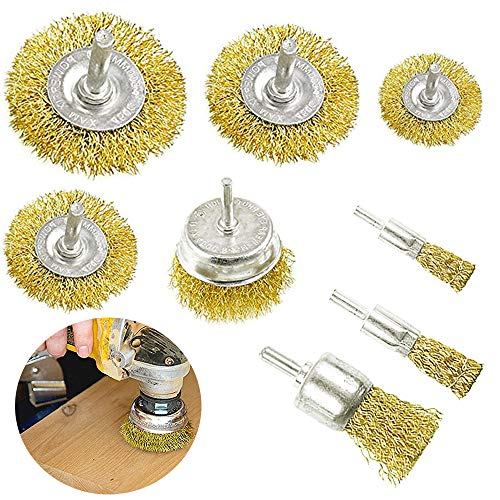 8 PCS Wheel Cup Brush Set,Bass Wire Brush Wheel,Wire Brush with 1/4 Inch Shank for Drill Attachment,Cleaning Rust