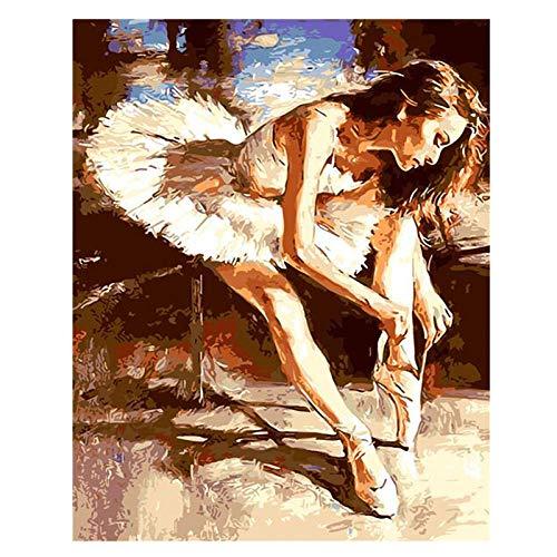 Pintura digital Pintado a mano Kit de bricolaje Pintura para adultos Bailarina de ballet Foto personalizada, foto, regalo único 40x50cm Con marco