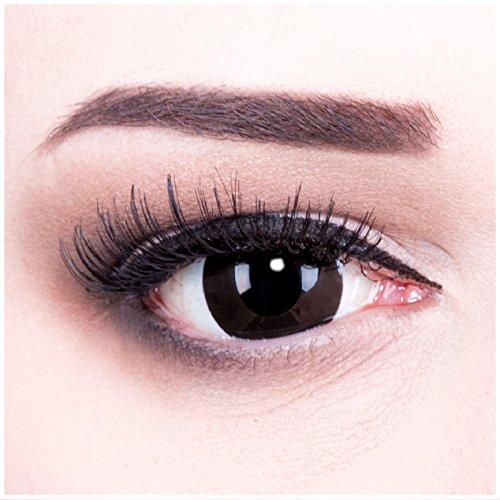 Farbige schwarze Funnylens Mini Sclera Black Out Kontaktlinsen Lenses inkl. 60 ml Pflegemittel und Behälter, weich ohne Stärke, 2er Pack - Top-Markenqualität, angenehm zu tragen und perfekt zu Halloween oder Karneval