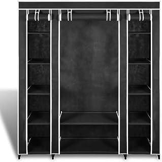 Cikonielf Ropero de Metal y Tela Negro Armario Plegable para Ropa Guardarropa para Dormitorio Estudio 150 x 176 x 45cm