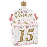 Big Dot of Happiness Mis Quince Anos - Treat Box Party Favors - Quinceanera Sweet 15 Birthday Party Goodie Gable Boxes - Set of 12