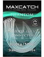 MAXIMUMCATCH Flätad slingkontakt 10 stycken per förpackning, flugfiske Loop-kontakter, orange/klar/gul, 30 lb/50 lb