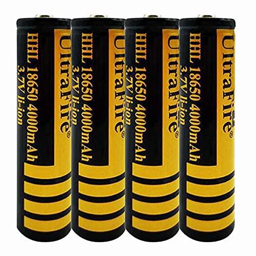 4 pcs 18650 Batería de Litio Recargable 3.7V 4000mAh Baterías de botón de Gran Capacidad para Linterna LED, iluminación de Emergencia, Dispositivos electrónicos, etc.