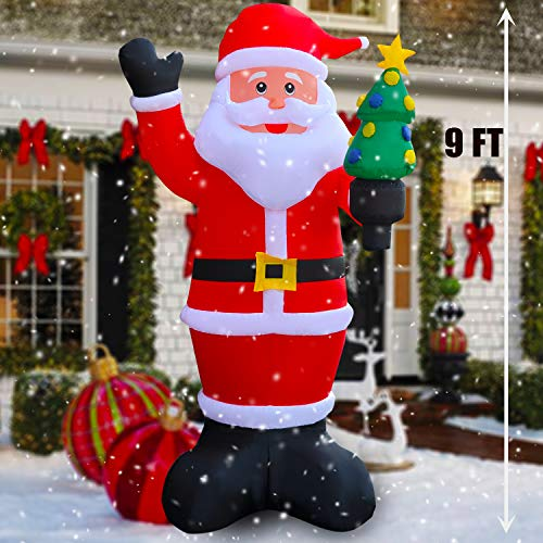 SEASONBLOW 9 Ft LED Light Up Inflatable Christmas Santa Claus with Xmas Tree Decoration for Yard Lawn Garden Home Party Indoor Outdoor