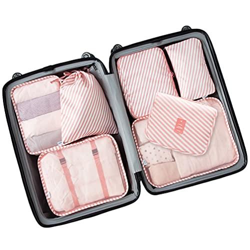 Ketamyy 7 unidades organizadores de viaje cubos de embalaje conjunto organizadores bolsas de embalaje bolsa de compresión bolsas de almacenamiento para ropa maleta artículos de tocador camping rosa/B