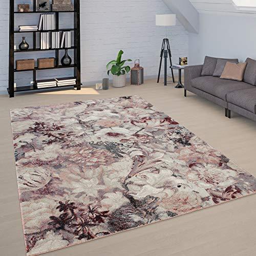 Paco Home Teppich Wohnzimmer Florale Boho Muster Vintage Design Kurzflor Versch. Farben, Grösse:120x170 cm, Farbe:Rosa