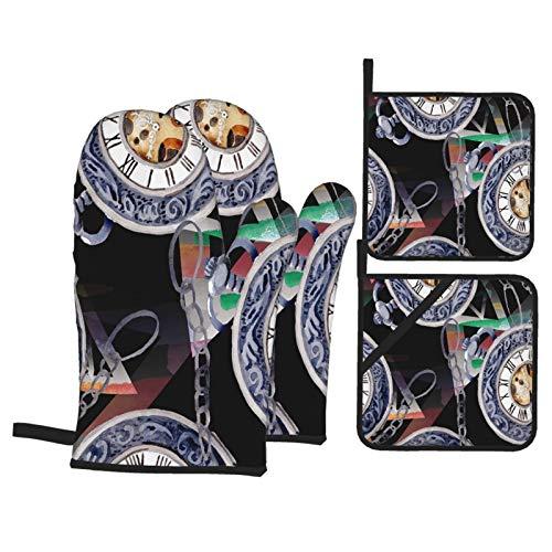 Juego de 4 Guantes y Porta ollas para Horno Resistentes al Calor Vintage Antiguo Reloj Reloj De Bolsillo Acuarela para Hornear en la Cocina,microondas,Barbacoa