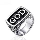 Anillo de Dios de la Vendimia de Acero Inoxidable de Las Mujeres para Hombre Anillos de Letras Retro, lwp, anillo, 6