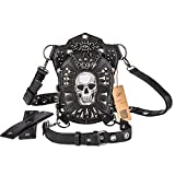 Cestlafit Steampunk Leather Shoulder Bag, Multifunction Skull Vintage Handbag Gothic Waist...