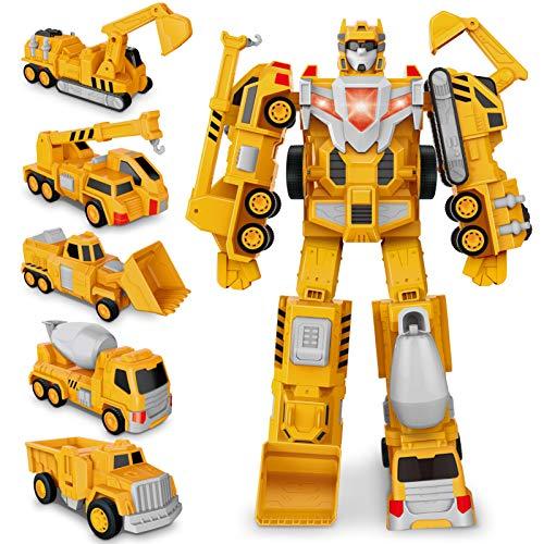 Transformer Roboter Auto Spielzeug Truck, BAU Assemble Toy Kleinkind Pull Back Play Fahrzeuge, Dump, Kran, Bagger, Bulldozer, Autos Set für 3 4 5 6 Jahre alte Kinder Weihnachten Geburtstagsgeschenk