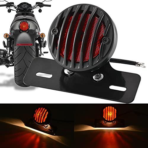 Feu Arrière Universel de Moto, Feu de Frein de Moto Rond 12 V NATGIC avec Support de Plaque Feu d'arrêt Arrière pour Tous Les Types de Motos et de Vélo (Coque Noire et Lentille Rouge)