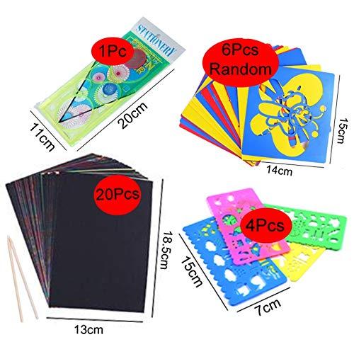 Juego de tarjetas de papel para rascar con plantilla de graffiti para dibujar y pintar arte de juguete para niños (color: 20 32K4HTC1WHC6LKB)