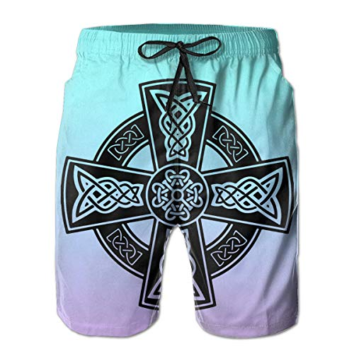 Celtic Cross Ancient Celtic Symbols Male Swim Trunks Quick Dry Waterproof Beach Pants Beach Board Short with Pockets White