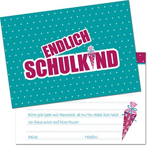 Kreatives Herz - ENDLICH Schulkind Einladungskarten zur Einschulung (10er Set - A6) für Mädchen Einladungen Schulanfang Kinder Party 1. Schultag Schultüte Zuckertüte Türkis Pink