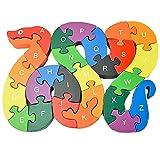 PROW Serpiente de Color Brillante Puzzle de Madera de los Animales Rompecabezas Aprendizaje de la Letra y el número Seguro y no tóxico Bebé Puzzle Edificio Bloques Mejorar la Inteligencia del Bebé