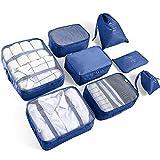 AMAYGA 8pcs Bolsas De Almacenamiento De Viaje a Prueba De Agua Ropa Embalaje Cubo Organizador De Equipaje Bolsa, Embalaje de Viaje Bolsas de Ropa Zapatos, Cosméticos Accesorios (Azul Oscuro)