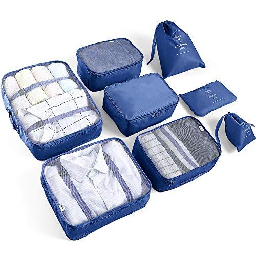 AMAYGA Organizer Valigia Set di 8,Organizzatori da Viaggio Cubi di Imballaggio lavanderia sacchetto dei bagagli Compressione Sacchetti Bag per i vestiti,Cosmetici,scarpe,Intimo (Blu Scuro)