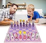 UIGJIOG Juego de ajedrez Juego de Mesa de Madera Conjunto de ajedrez Infantil Conjunto de ajedrez Plegable de diseño portátil y Piezas de ajedrez a Mano 31 * 31 * 4 cm,Rosado,30cmX30cm