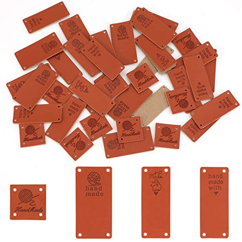 SAVITA 40 Stuks Handgemaakte Lederen Labels Pu Lederen Labels Handgemaakte Reliëflabels Met Gaten Voor Knutselen, Breien…