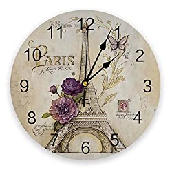 10 Inch Chic Round Wall Clock - Vintage Battery Operated Non Ticking Silent Wall Clock Eiffel Tower in Paris with Butterfly Flower Print PVC Clock for Bedroom Hotel Home Office School