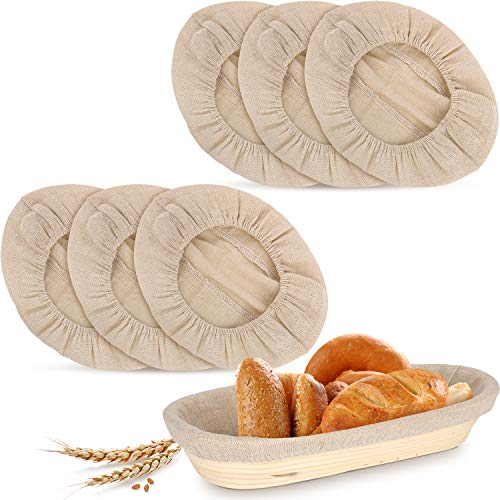 6 Pieces 13.8 Inch Oval Shape Bread Proofing Basket Cloth Liner Natural Rattan Baking Dough Basket Cover Sourdough Banneton Proofing Cloth