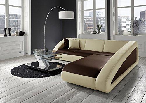 SAM® Sofa Garnitur Ecksofa in braun/Creme/Creme CIAO 270 x 250 cm Ottomane rechts Couch Couchgsrnitur pflegeleicht