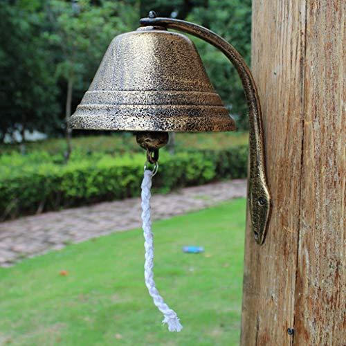 XXHDEE grote bel smeedijzeren deurbel retro gietijzeren deurbel tuin muur opknoping wind chime rammelaar decoratie 18x30x30cm gietijzeren deurbel