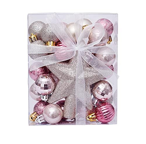 30 palline di Natale, palline di Natale, infrangibili, decorazioni per albero di Natale, palline da appendere, per albero di Natale (rosa)