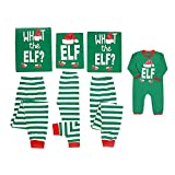 Mikrdoo Family Matching Christmas Pajamas Sleepwear Letter Printed Long Sleeve Tops Green Striped Pajamas Pant Set (9-12 Months, Baby)