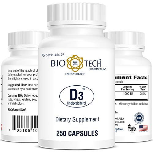 Bio-Tech Pharmacal Vitamin D3 (D3 1k IU, 250 Count)
