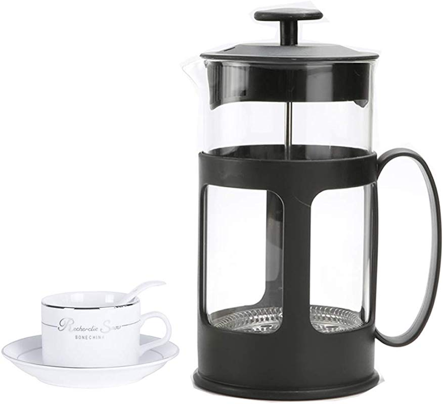 French Press Coffee Maker With 4 Level Filtration System 304 Grade Stainless Steel Heat Resistant Borosilicate Glass Tea Maker