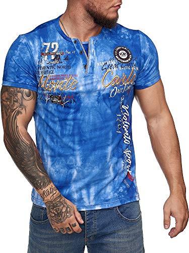 "OneRedox Herren T-Shirt Kurzarm Rundhals Shirt Shortsleeve Batik ""Monte Carlo"" M-XXXL Modell 3064 Blau XXXL"