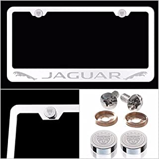 Fit Jaguar Laser Engraved License Plate Frame Made of Industrial Grade Mirror Finished Chrome Stainless Steel w/Caps and Accessories